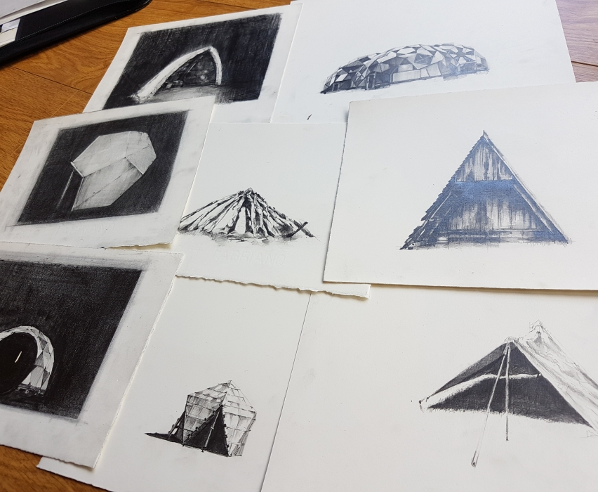 Series  of shelter drawings, 2017
